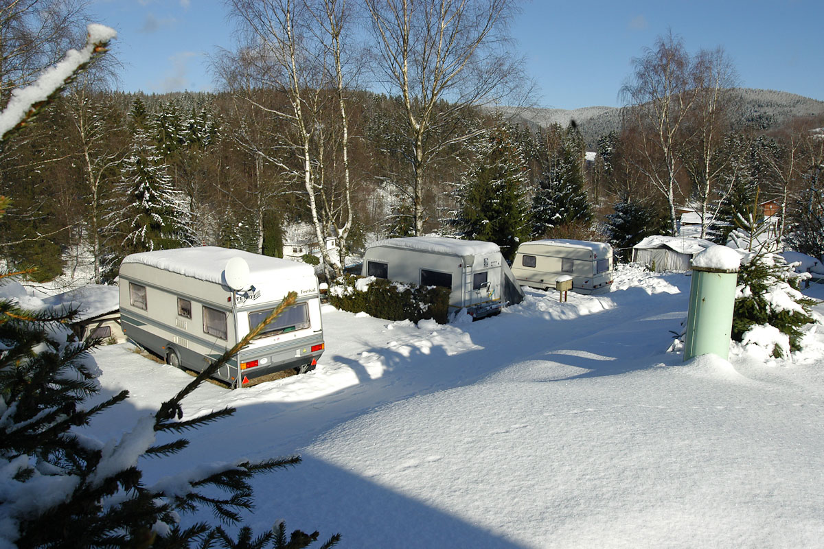 Campingplatz im Winter