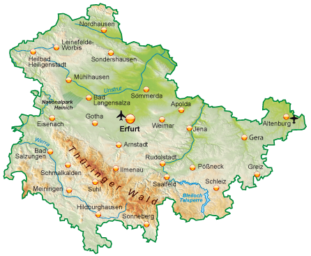 Karte Thüringen.Thüringen Ihr Urlaubs Und Reiseportal